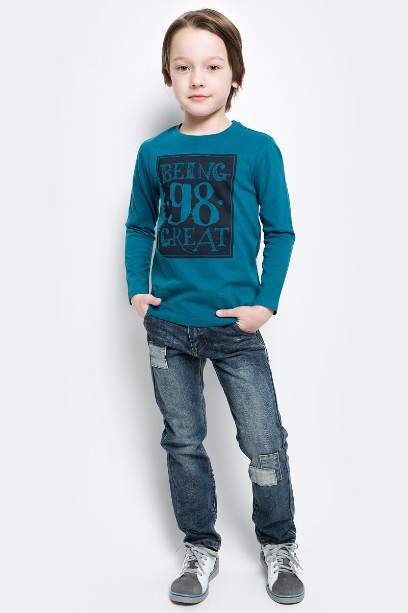 Лонгслив для мальчика Button Blue, цвет: темно-бирюзовый. 216BBBC12040700. Размер 158, 13 лет216BBBC12040700Лонгслив - основная составляющая модного детского функционального гардероба. Модель с эффектным принтом - украшение гардероба! Лонгслив сделает повседневный гардероб свежим, ярким, привлекательным!