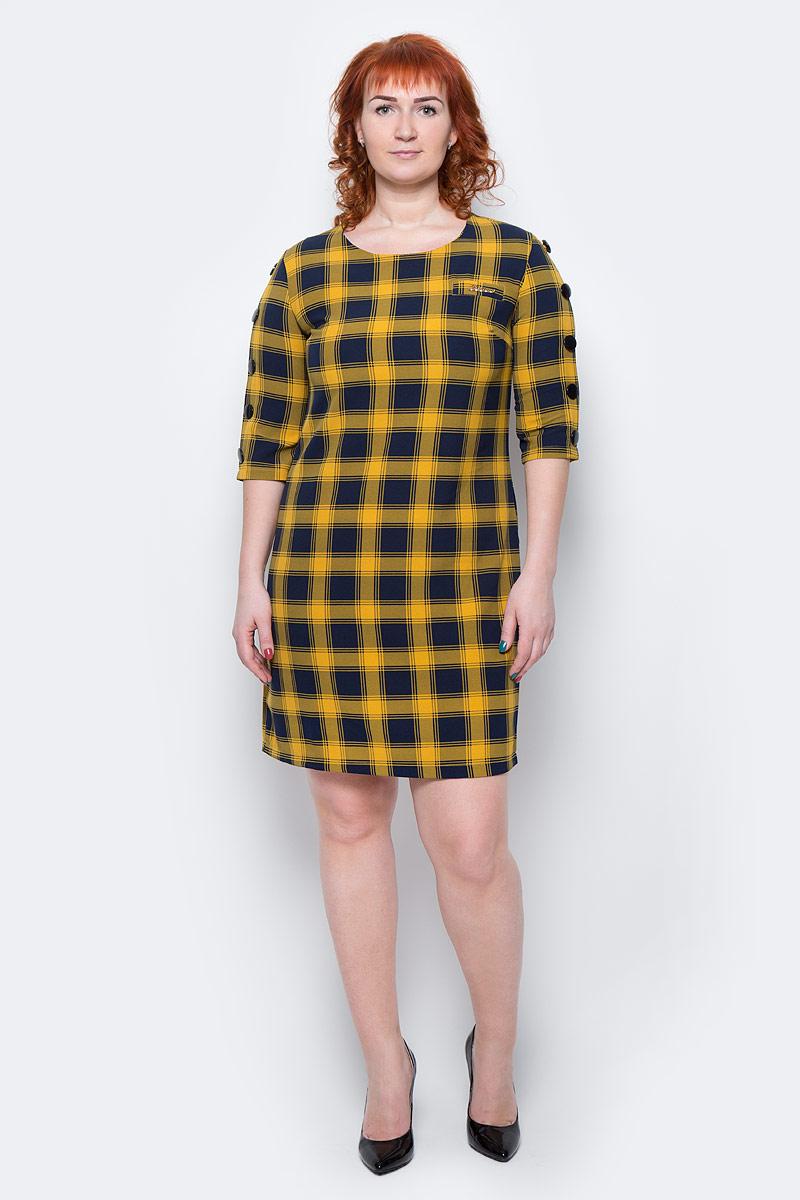 Платье Milton, цвет: клетка, желтый. WD-2499F. Размер 46WD-2499FПлатье прямого силуэта, с рукавом длиной 1/2, вдоль рукава пришиты отделочные пуговицы.