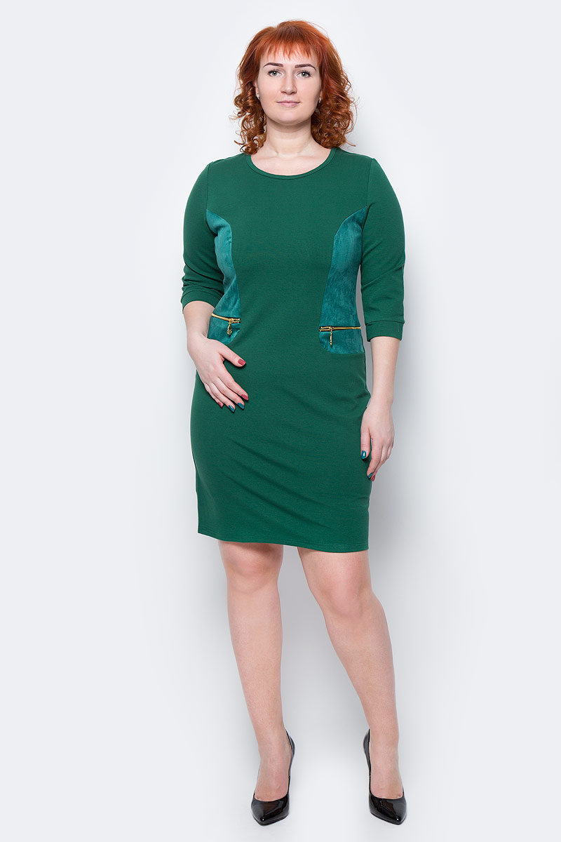 Платье Milton, цвет: зеленый. WD-2505F. Размер 54WD-2505FПлатье полуприлегающего силуэта, с рукавами длиной 1/2, с деталями отделки из искуственной замши. На полочках обработаны обманки-карманы с металлическими молниями.