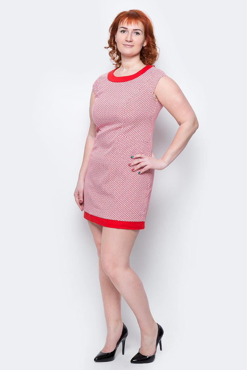 Платье Milton, цвет: красный. WD-2517F. Размер 48WD-2517FПлатье прилегающего силуэта, с короткими рукавами в виде крылышек, с карманами в боковых рельефах переда. Бейка горловины и низ платья - из отделочной однотонной ткани.