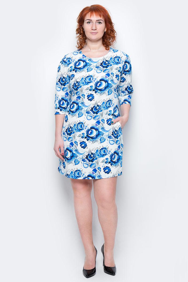 Платье Milton, цвет: белый, голубой. WD-2511F. Размер 48WD-2511FПлатье А-образного силуэта с втачными рукавами длиной 1/2, с внутренними карманами в боковых швах.