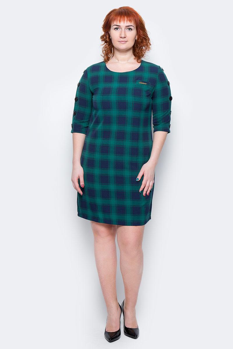 Платье Milton, цвет: клетка, темно-зеленый. WD-2499F. Размер 46WD-2499FПлатье прямого силуэта, с рукавом длиной 1/2, вдоль рукава пришиты отделочные пуговицы.