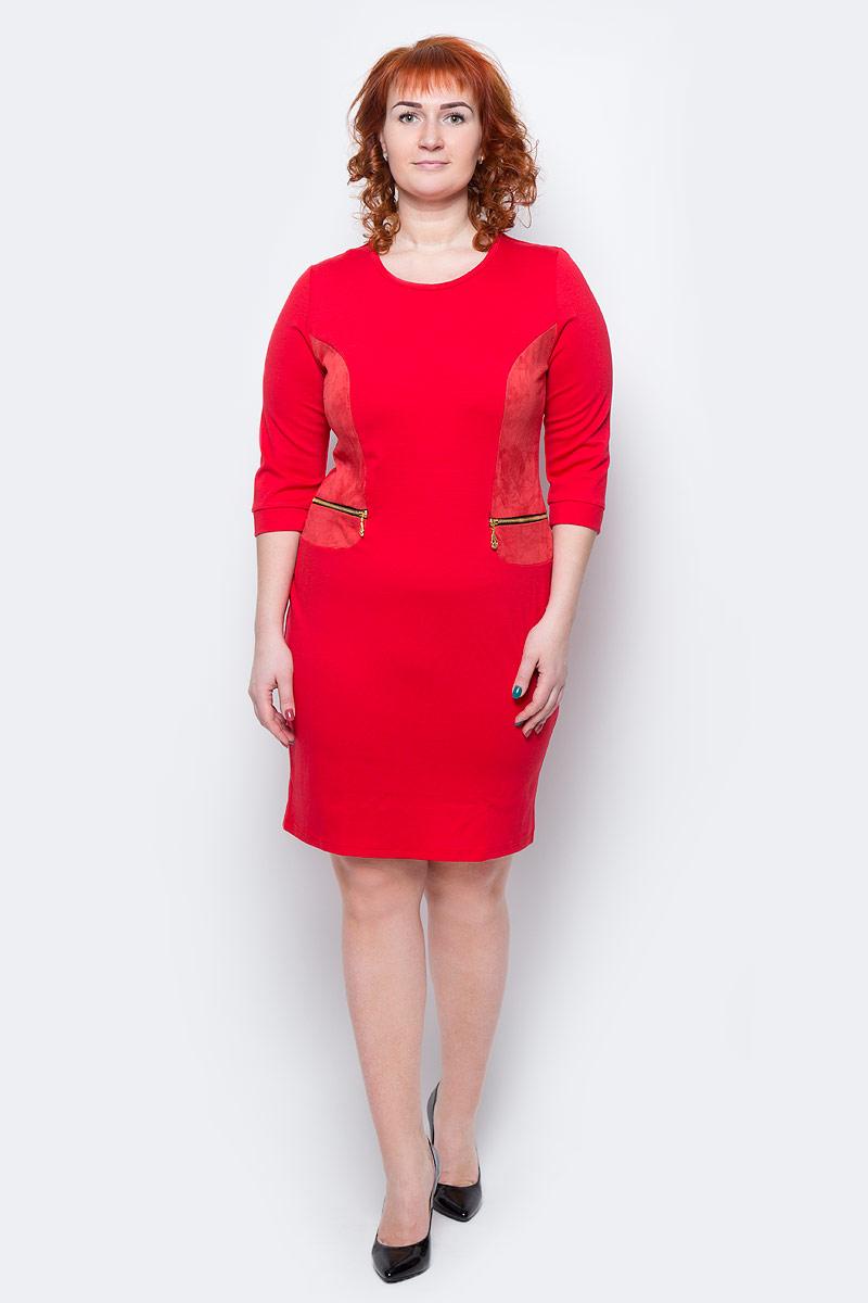 Платье Milton, цвет: красный. WD-2505F. Размер 52WD-2505FПлатье полуприлегающего силуэта, с рукавами длиной 1/2, с деталями отделки из искуственной замши. На полочках обработаны обманки-карманы с металлическими молниями.