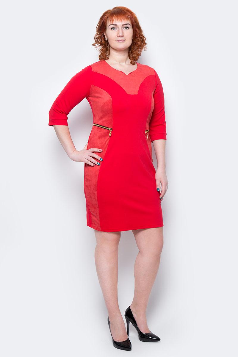 Платье Milton, цвет: красный. WD-2506F. Размер 54WD-2506FПлатье полуприлегающего силуэта, с рукавами длиной 1/2, с деталями отделки из искусственной замши. На полочках обработаны обманки-карманы с металлическими молниями.