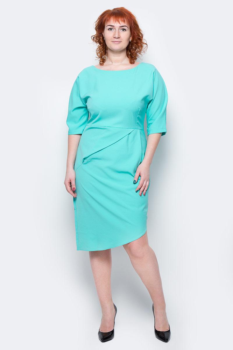 Платье Milton, цвет: ментоловый. WD-2504F. Размер 48WD-2504FПлатье полуприлегающего силуэта, с рукавами длиной 1/2, с отрезной талией. На юбке переда - глубока складка от талии.