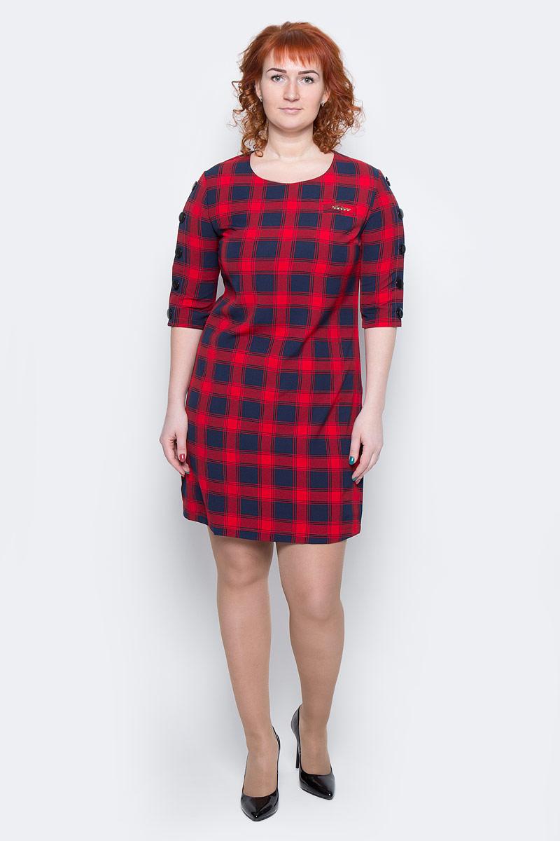 Платье Milton, цвет: клетка, красный. WD-2499F. Размер 50WD-2499FПлатье прямого силуэта, с рукавом длиной 1/2, вдоль рукава пришиты отделочные пуговицы.