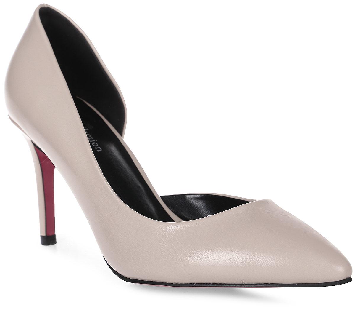 Туфли женские LK collection, цвет: бежевый. SP-EA1302-2 PU (SP-E18003-5). Размер 40SP-EA1302-2 PU (SP-E18003-5)Стильные туфли-лодочки на шпильке выполнены из искусственной кожи. Стелька выполнена из натуральной кожи.