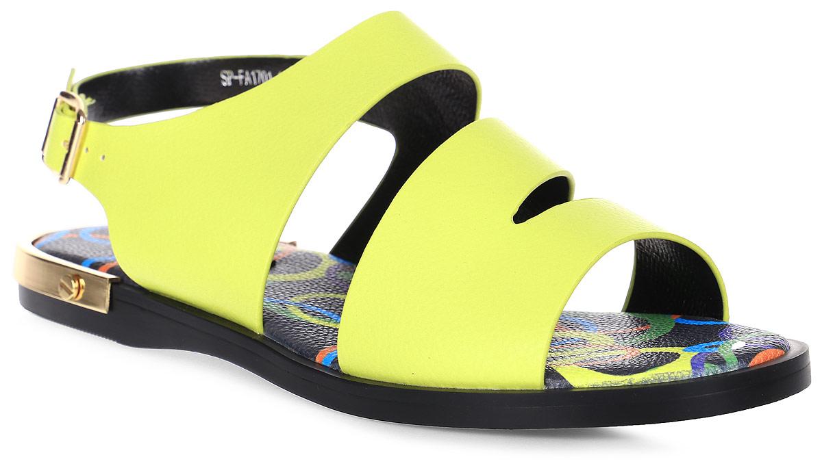 Сандалии женские LK collection, цвет: желтый. SP-FA1701-1 PU (SP-F274A1-A). Размер 36SP-FA1701-1 PU (SP-F274A1-A)Стильные сандалии на плоской подошве выполнены из искусственной кожи. Сандалии фиксируются на ноге при помощи застежки-пряжки.