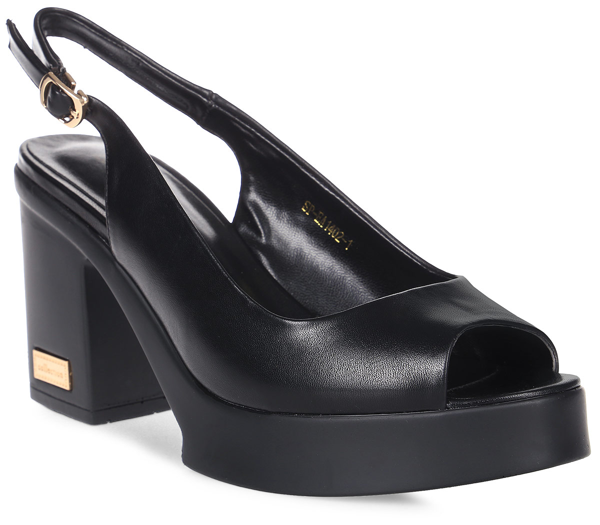 Босоножки женские LK collection, цвет: черный. SP-EA1402-1(2) PU (SP-E308001-2). Размер 37SP-EA1402-1(2) PU (SP-E308001-2)Стильные босоножки на устойчивом квадратном каблуке выполнены из искусственной кожи. Босоножки фиксируются на ноге при помощи застежки-пряжки.