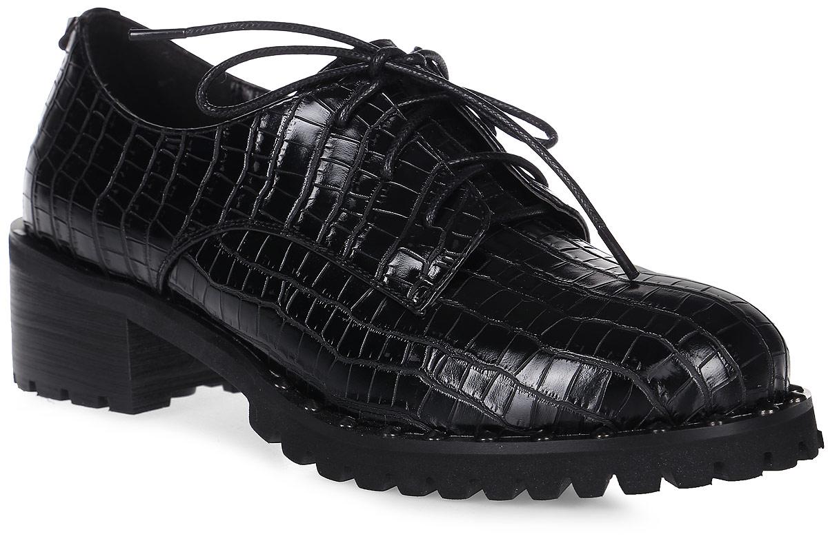 Полуботинки женские LK collection, цвет: черный. SP-PA0801-5 PU. Размер 39SP-PA0801-5 PUМодные женские ботинки на массивном каблуке и подошве выполнены из искусственной кожи. Стелька выполнена из натуральной кожи. На подъеме модель фиксируется шнуровкой.