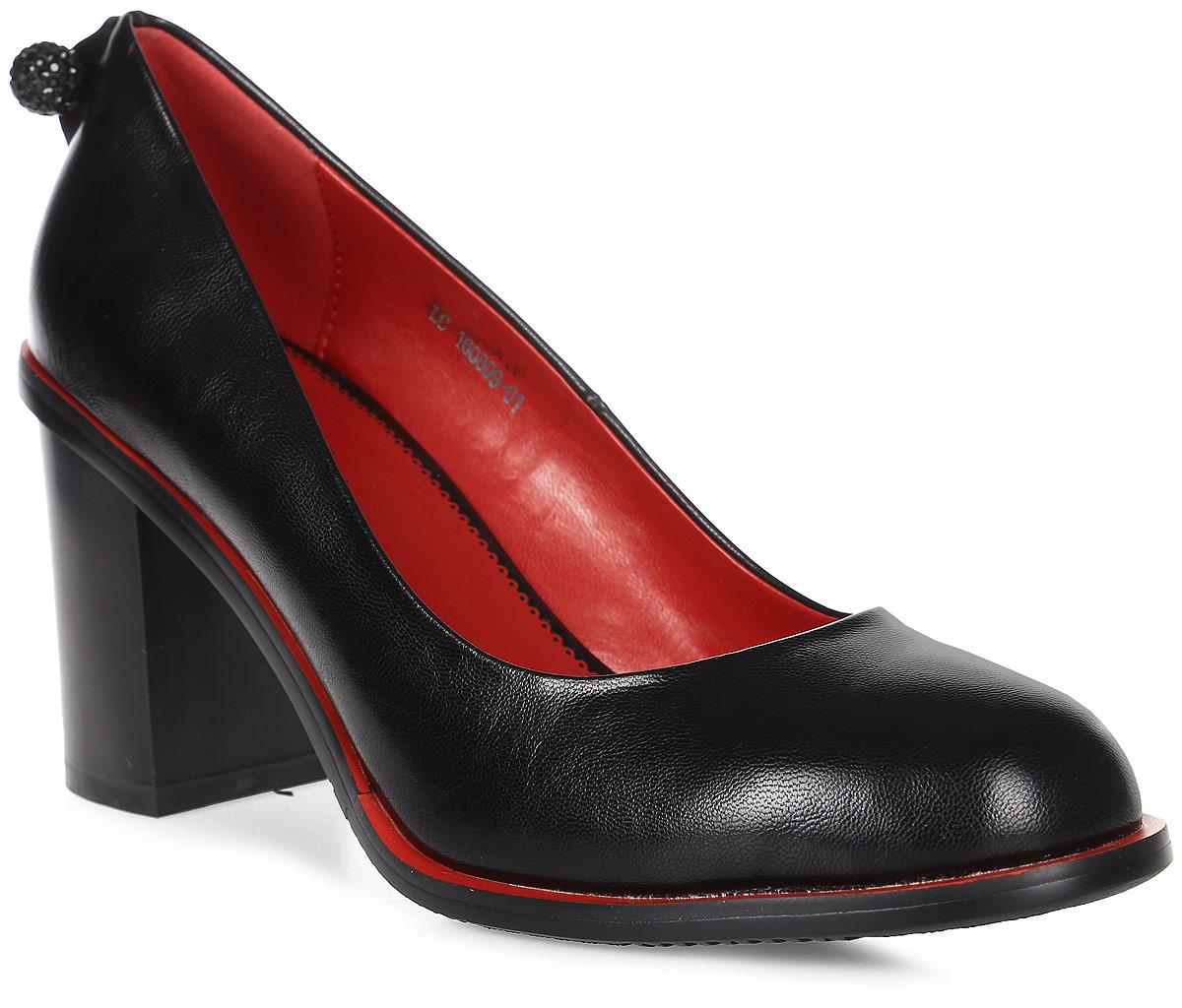 Туфли женские LK collection, цвет: черный. LC-160809-01 PU. Размер 36LC-160809-01 PUСтильные туфли на широком устойчивом каблуке выполнены из искусственной кожи. Стелька выполнена из натуральной кожи.