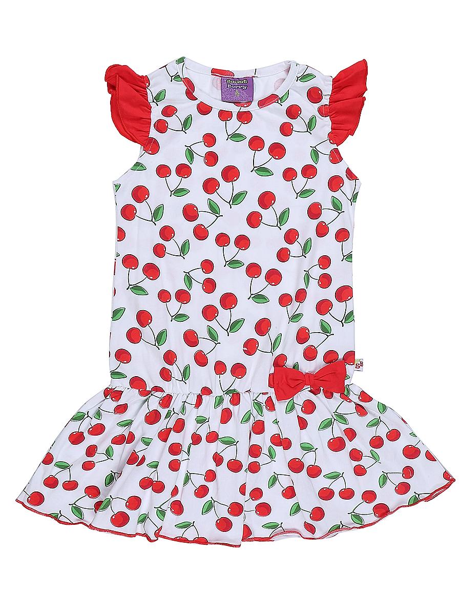 Платье для девочки Sweet Berry, цвет: белый, красный. 714157. Размер 104714157Яркое платье для девочки Sweet Berry выполнено из высококачественного эластичного хлопка. Модель приталенного кроя с юбкой-воланом и рукавами-крылышками оформлена принтом в вишенку. Круглый вырез горловины дополнен мягкой эластичной бейкой.