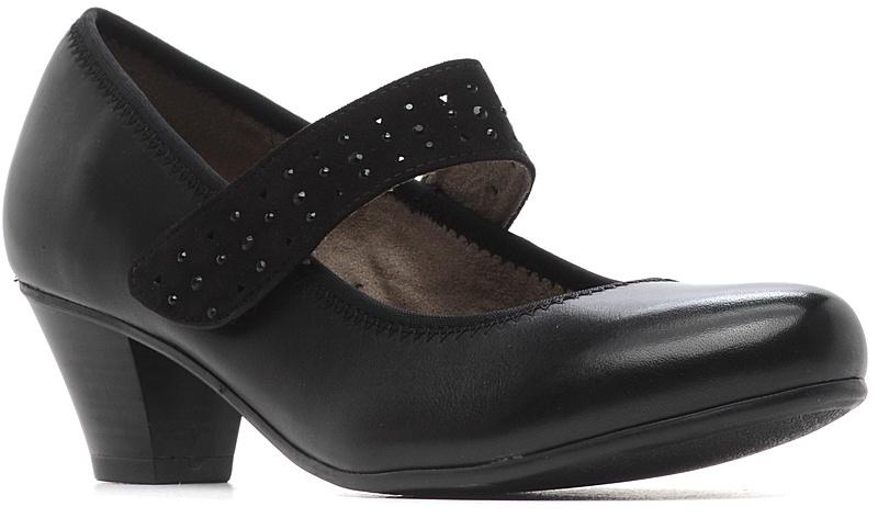 Туфли женские Jana, цвет: черный. 8-8-24301-28-001/224. Размер 37,58-8-24301-28-001/224Модные женские туфли от Jana выполнены из натуральной кожи. Внутренняя поверхность и стелька из текстиля гарантируют комфорт. Ремешок с застежкой-липучкой, оформленный стразами, надежно зафиксирует модель на ноге. Подошва и невысокий каблук дополнены рифлением.