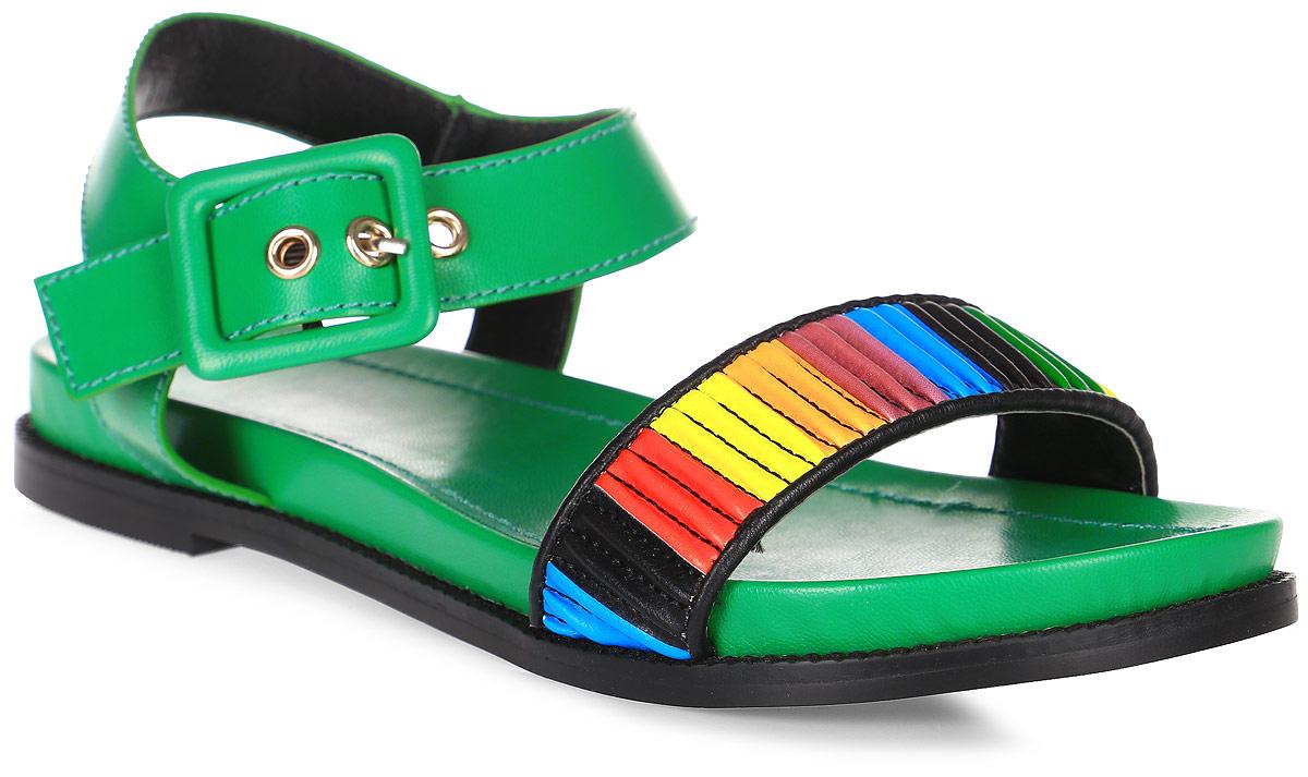 Сандалии женские LK collection, цвет: зеленый. SP-FA2102-1 PU (SP-F41002-4). Размер 36SP-FA2102-1 PU (SP-F41002-4)Удобные и яркие сандалии на плоской подошве выполнены из искусственной кожи. Сандалии фиксируются на ноге при помощи застежки-пряжки.