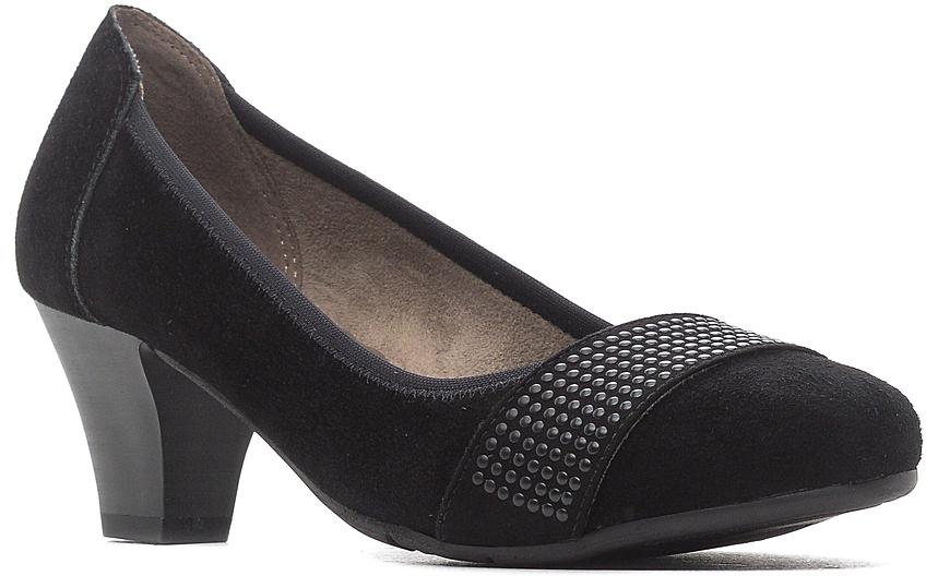 Туфли женские Jana, цвет: черный. 8-8-22303-28-004/223. Размер 40,58-8-22303-28-004/223Модные женские туфли от Jana выполнены из натуральной кожи и дополнены эластичным кантом. Мыс модели украшен декоративным ремешком. Внутренняя поверхность из текстиля и стелька из искусственной кожи гарантируют комфорт. Подошва и каблук средней высоты дополнены рифлением.