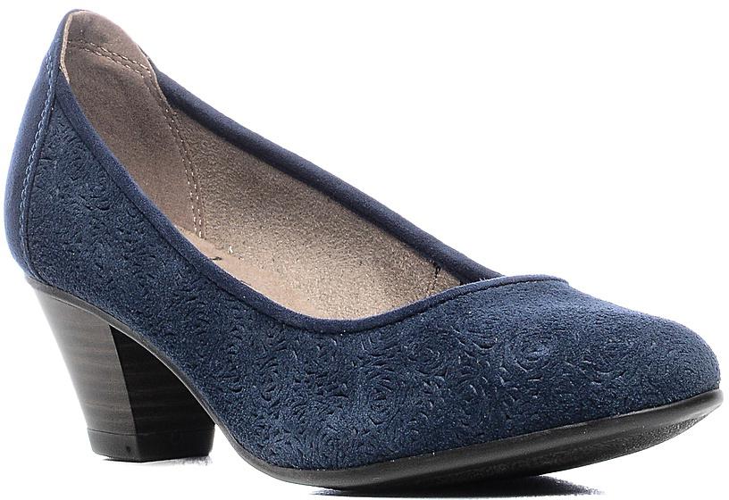 Туфли женские Jana, цвет: синий. 8-8-22301-28-805/224. Размер 408-8-22301-28-805/224Модные женские туфли от Jana выполнены из натуральной кожи с бархатистой поверхностью и оформлены декоративным тиснением. Внутренняя поверхность и стелька из текстиля гарантируют комфорт. Подошва и каблук средней высоты дополнены рифлением.