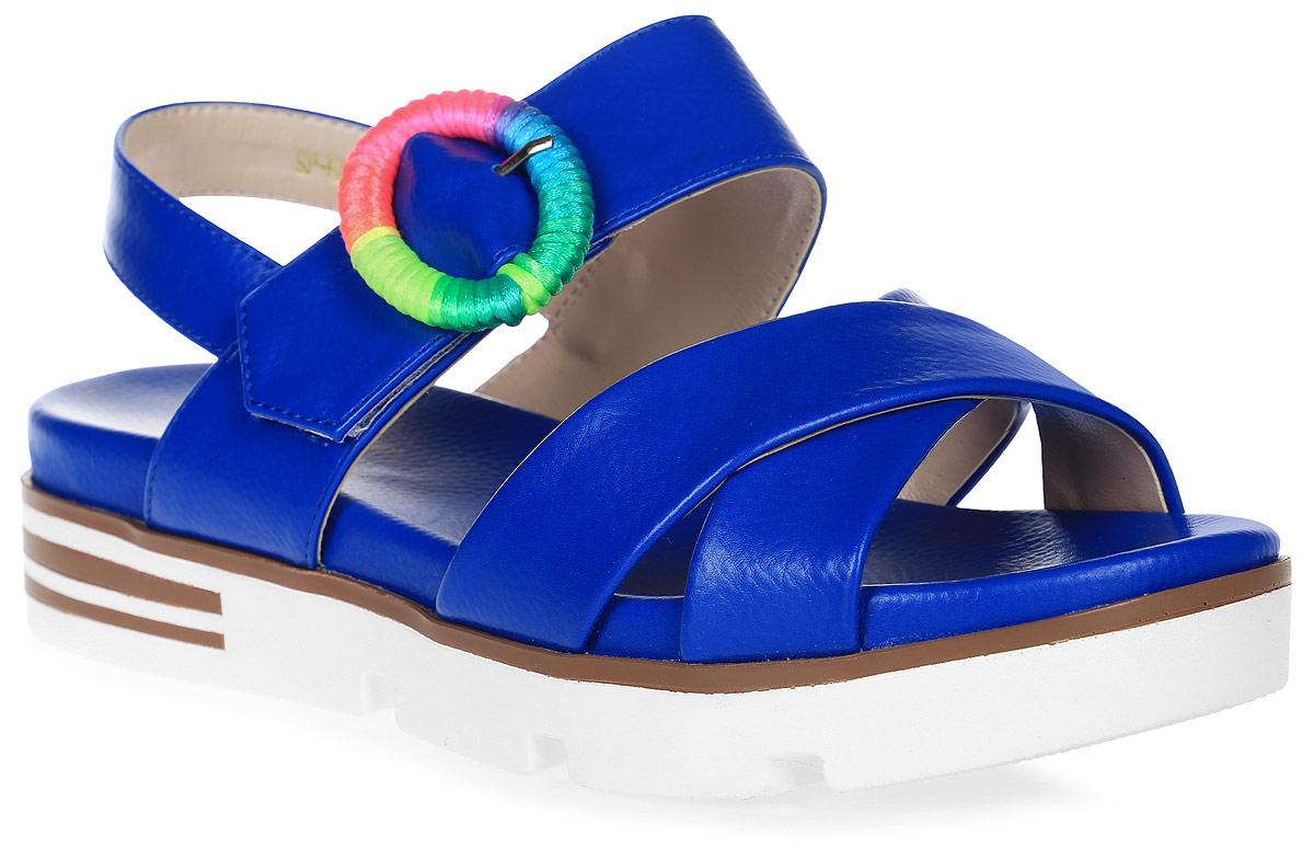 Сандалии женские LK collection, цвет: синий. SP-FA2501-3 PU (SP-F45001-3). Размер 36SP-FA2501-3 PU (SP-F45001-3)Удобные сандалии на плоской подошве выполнены из искусственной кожи. Сандалии фиксируются на ноге при помощи застежки-пряжки.
