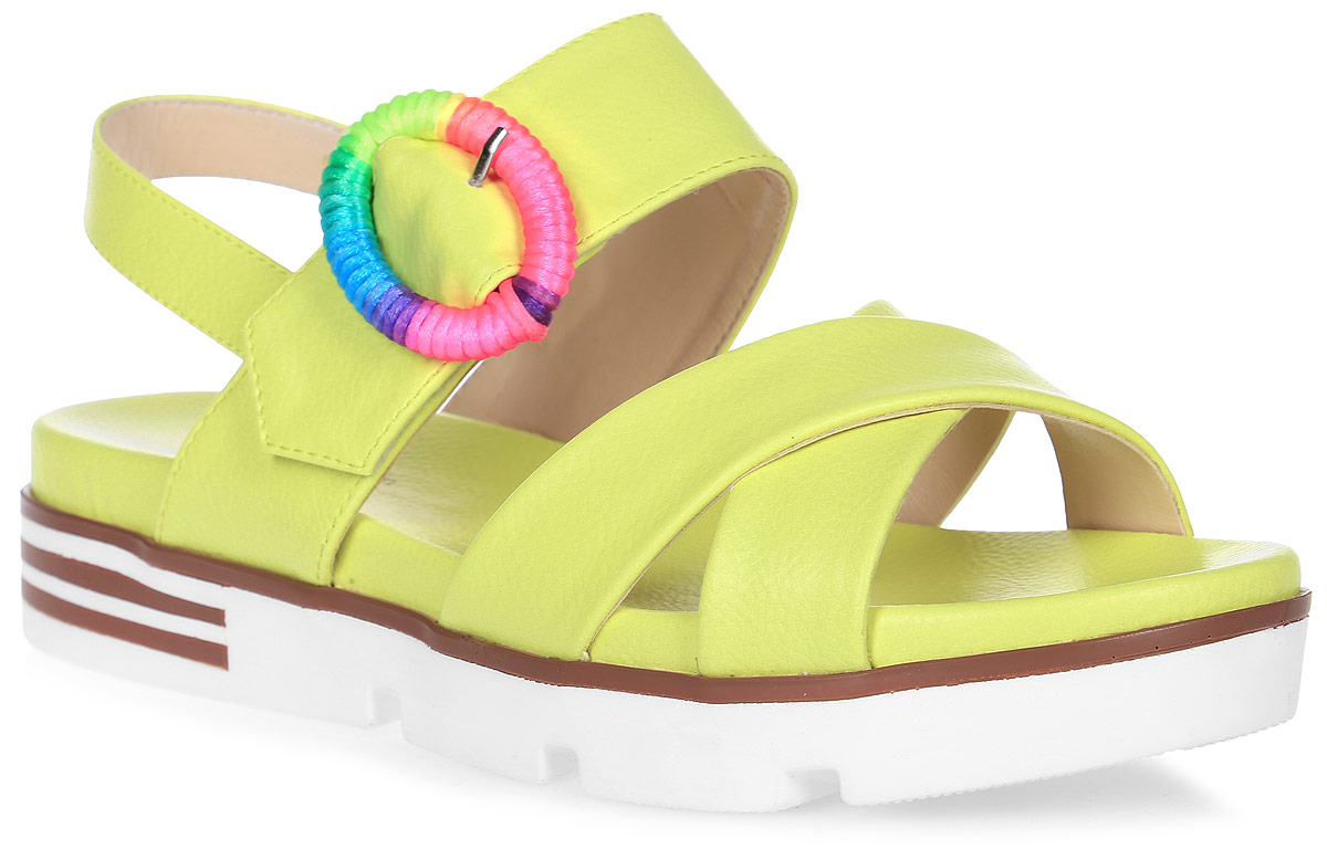 Сандалии женские LK collection, цвет: желтый. SP-FA2501-1 PU (SP-F45001-1). Размер 37SP-FA2501-1 PU (SP-F45001-1)Удобные сандалии на плоской подошве выполнены из искусственной кожи. Сандалии фиксируются на ноге при помощи застежки-пряжки.
