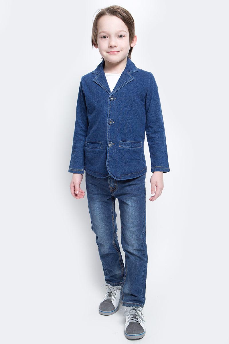 Пиджак для мальчика PlayToday, цвет: синий. 171166. Размер 110171166Оригинальный однобортный пиджак PlayToday, из натуральной ткани, в модном стиле хипстер. Модель с яркой клетчатой подкладкой. Можно сочетать с рубашкой или футболкой.