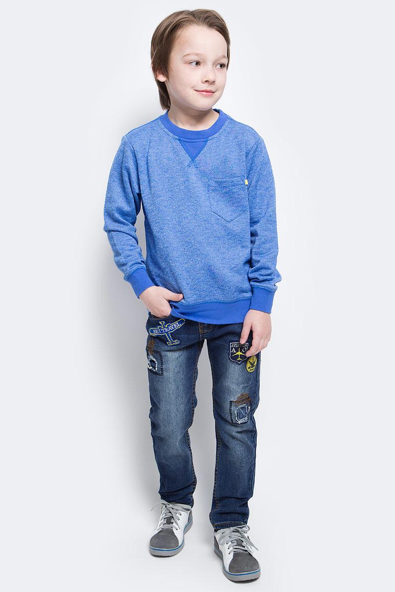Свитшот для мальчика Sela, цвет: синий меланж. St-813/139-6152. Размер 134, 9 летSt-813/139-6152Свитшот для мальчика Sela идеально подойдет вашему юному моднику. Изготовленный из хлопка с добавлением полиэстера, он мягкий и приятный на ощупь, не сковывает движения и позволяет коже дышать, обеспечивая наибольший комфорт. Лицевая сторона изделия гладкая, изнаночная с небольшими петельками. На модели с длинными рукавами предусмотрен круглый вырез горловины, оформленный трикотажной резинкой. На груди расположен небольшой накладной карман. Рукава имеют трикотажные манжеты, не стягивающие запястья. Понизу проходит широкая трикотажная резинка.Современный дизайн и расцветка делают этот свитшот модным и стильным предметом детского гардероба. В нем ребенок будет чувствовать себя уютно и комфортно, и всегда будет в центре внимания!