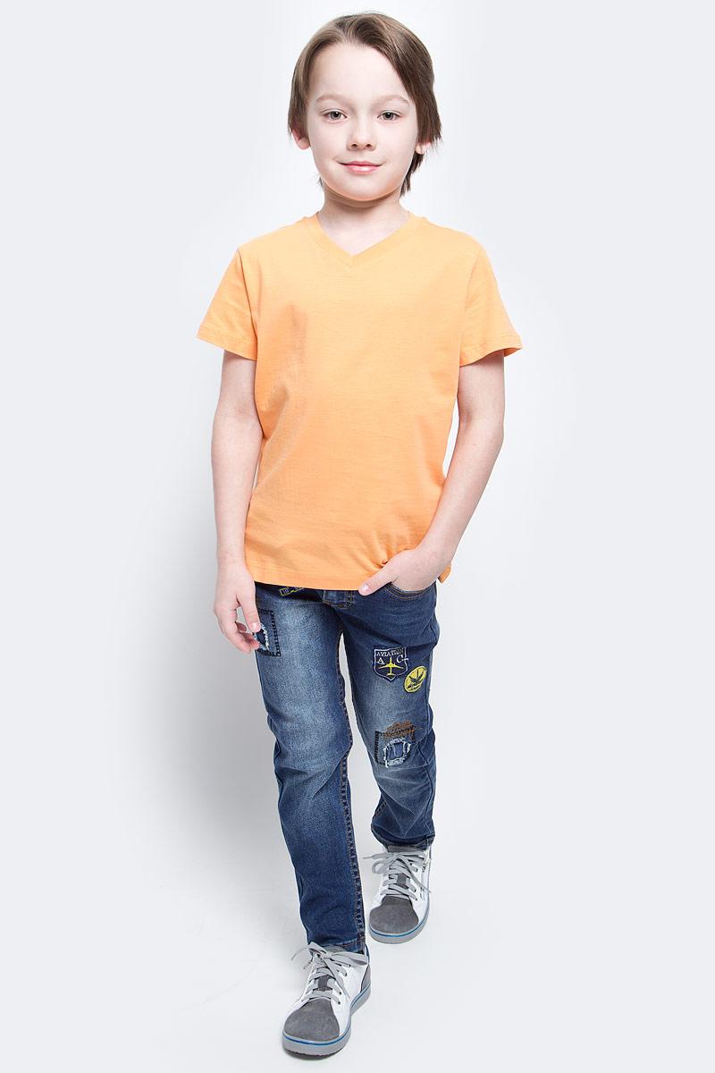 Футболка для мальчика Sela, цвет: светло-оранжевый. Ts-811/606-7132. Размер 152, 12 летTs-811/606-7132Футболка для мальчика Sela изготовлена из высококачественного натурального хлопка. Модель с короткими рукавами и V-образным вырезом горловины имеет стильную однотонную расцветку.
