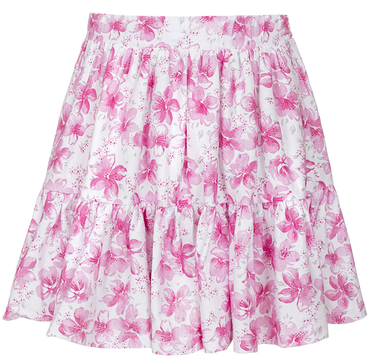 Юбка для девочки M&D, цвет: белый, розовый. SJA27050M77. Размер 104SJA27050M77Юбка для девочки M&D исполнена из 100% натурального хлопка.Модель имеет мягкую резинку, надежно фиксирующую юбку и не сдавливающую животик ребенка. Ткань оформлена ярким принтом в цветочек. Модная и не стесняющая движений юбка обязательно понравится ребенку и подарит ему комфорт.