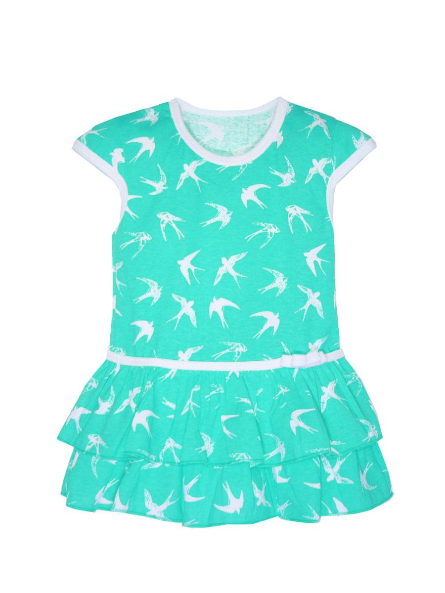Платье для девочки КотМарКот, цвет: бирюзовый, молочный. 21504. Размер 11621504Платье КотМарКот выполнено из натурального хлопка, приятного на ощупь. Модель с круглым воротником и стандартными короткими рукавами оформлена оригинальным принтом и сборкой.