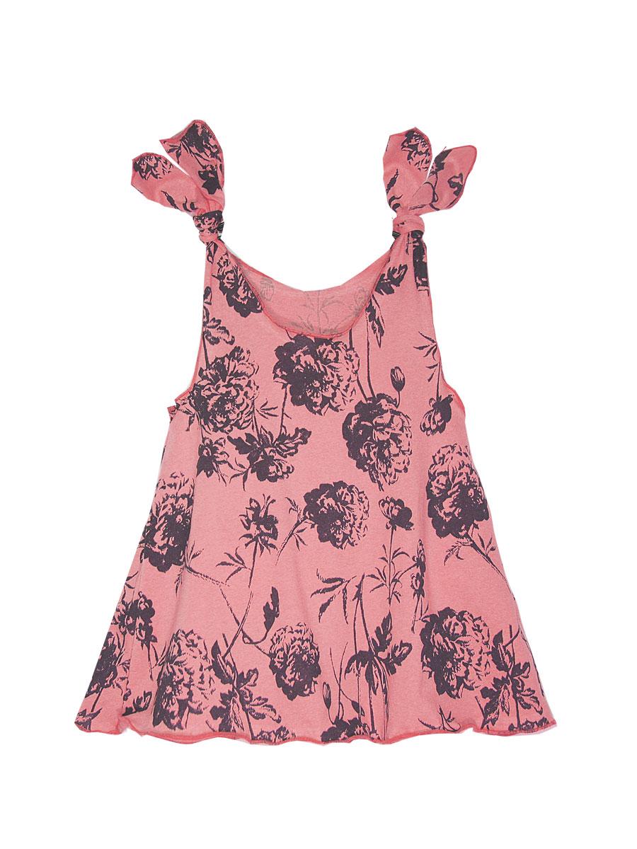 Платье для девочки КотМарКот, цвет: розовый, коричневый. 21409. Размер 11021409Платье КотМарКот выполнено из натурального хлопка, приятного на ощупь. Модель с круглым воротником без рукавов оформлена оригинальным принтом.