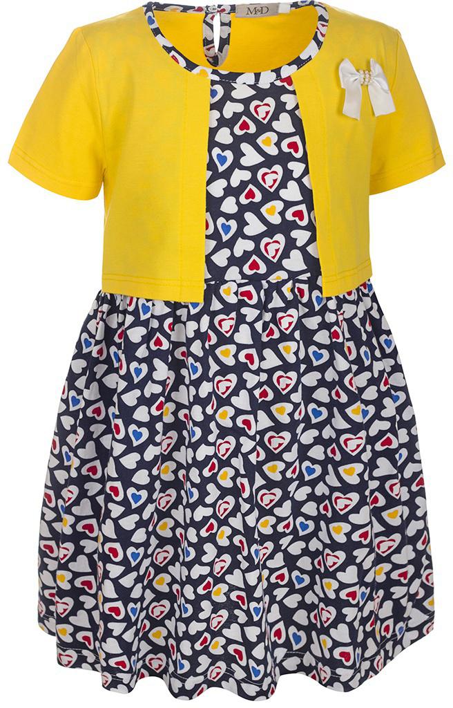 Платье для девочки M&D, цвет: желтый, черный, мультиколор. SJD27029M22. Размер 122SJD27029M22Платье для девочки M&D станет отличным вариантом для прогулок или праздников. Изготовленное из мягкого хлопка, оно тактильно приятное, хорошо пропускает воздух. Платье с круглым вырезом горловины и короткими рукавами застегивается по спинке на пуговицу. От линии талии заложены складочки, придающие платью пышность. Изделие оформлено принтом в разноцветные сердечки и украшено бантом из атласной ленты. Отделка и расцветка модели создают эффект 2 в 1 - платья с жакетом.