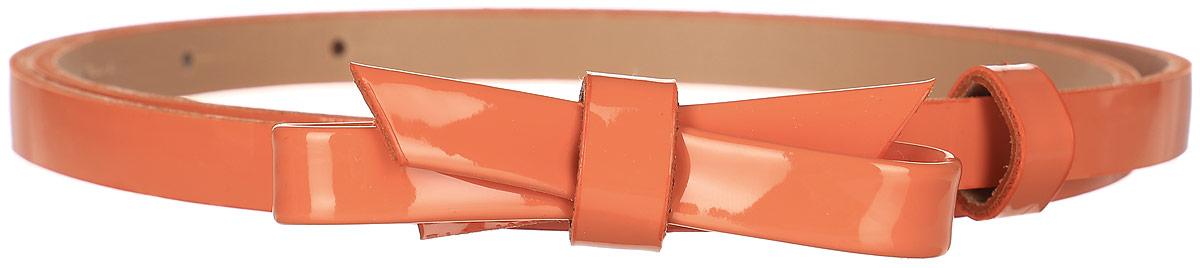 Ремень женский Finn Flare, цвет: оранжевый. S17-11301_402. Размер (80)S17-11301_402Такой симпатичный лаковый ремешок украсит любое ваше летнее платье или лёгкую рубашку! Кокетливый бант и яркий цвет освежат даже самый скучный наряд. Выполнен ремешок из прочной искусственной кожи.