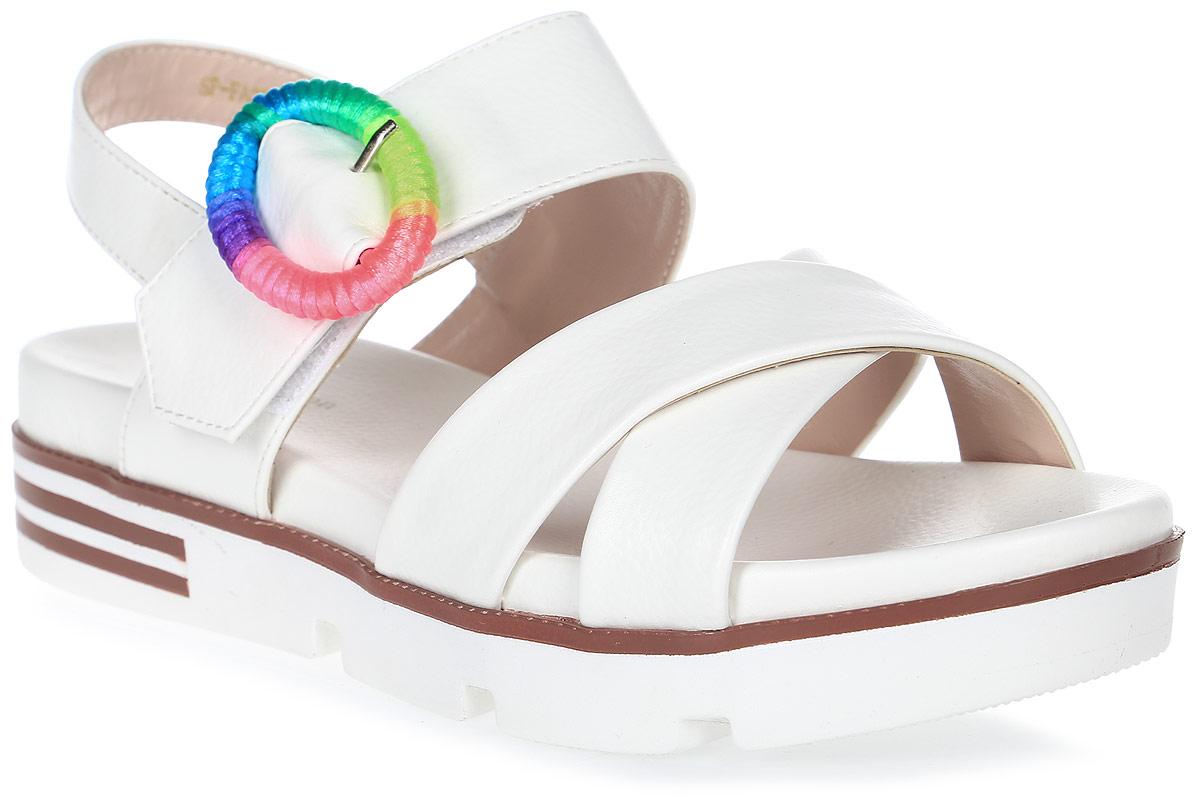 Сандалии женские LK collection, цвет: белый. SP-FA2501-5 PU (SP-F45001-5). Размер 37SP-FA2501-5 PU (SP-F45001-5)Удобные сандалии на плоской подошве выполнены из искусственной кожи. Сандалии фиксируются на ноге при помощи застежки-пряжки.