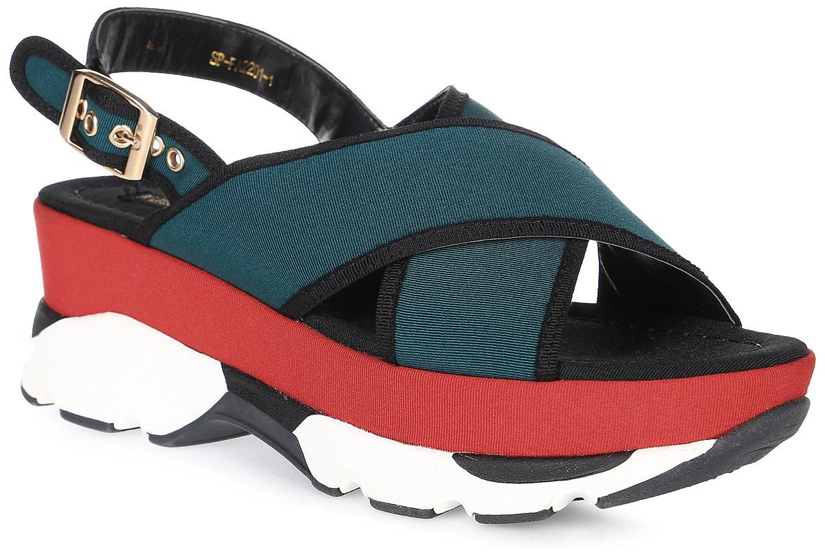 Сандалии женские LK collection, цвет: зеленый. SP-FA2201-1 PU (SP-F198-2). Размер 40SP-FA2201-1 PU (SP-F198-2)Удобные сандалии на высокой подошве выполнены из текстиля. Сандалии фиксируются на ноге при помощи застежки-пряжки.