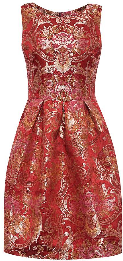 Платье Be in, цвет: красный. Пл х140-163. Размер 42/44Пл х140-163Стильное платье Be in изготовлено из полиэстера и застегивается сзади на молнию. Модель без рукавов оформлена объемными складками на талии и оригинальным цветочным принтом. Романтичное платье Be in - для девушки, стремящейся всегда оставаться стильной и элегантной.