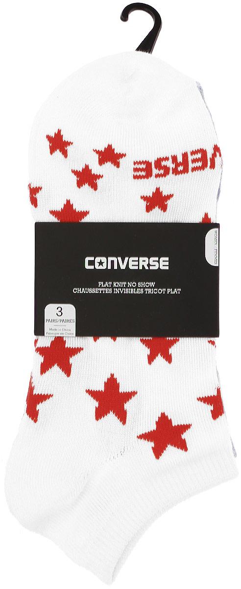 Носки Converse Converse Socks, цвет: белый, серый, синий, 3 пары. E574A3001. Размер 37/42E574A3001Женские носки Converse изготовлены из качественного полиэстера с добавлением эластана. Укороченная модель декорирована буквенным принтом и звездочками контрастного цвета. Эластичная резинка плотно облегает ногу, не сдавливая ее.