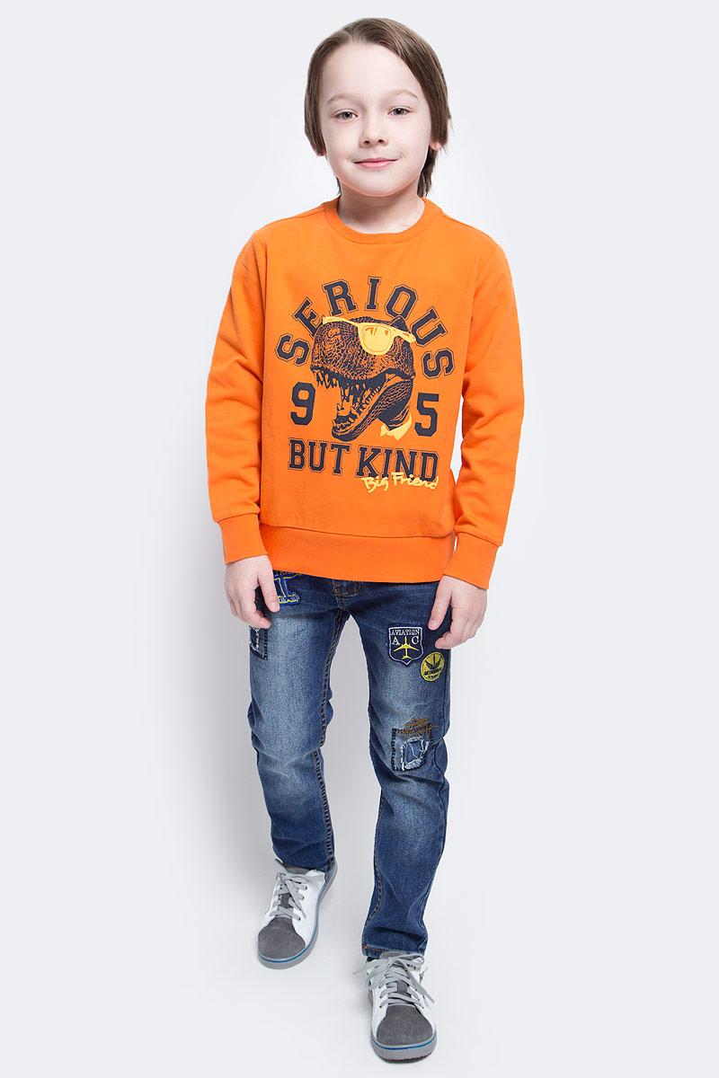 Свитшот для мальчика Sela, цвет: темно-оранжевый. St-813/168-7121. Размер 146, 11 летSt-813/168-7121Великолепный свитшот для мальчика Sela, изготовленный из натурального хлопка, необычайно мягкий и приятная на ощупь, не сковывает движения и позволяет коже дышать. Модель сдлинными рукавами и круглым вырезом горловины оформлена стильным принтом с надписями. Воротник, манжеты рукавов и низ свитшота выполнены из трикотажной резинки.
