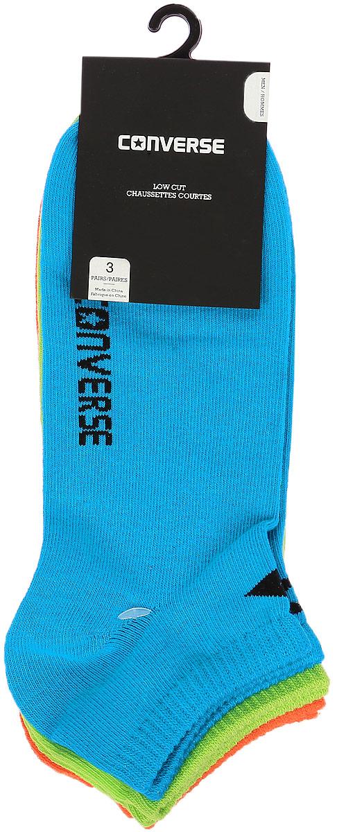 Носки Converse Converse Socks, цвет: синий, зеленый, оранжевый, 3 пары. E217A3010. Размер 39/42E217A3010Мужские носки Converse изготовлены из качественного смесового текстиля на основе хлопка. Модель оформлена буквенным принтом с названием бренда. Эластичная резинка плотно облегает ногу, не сдавливая ее.