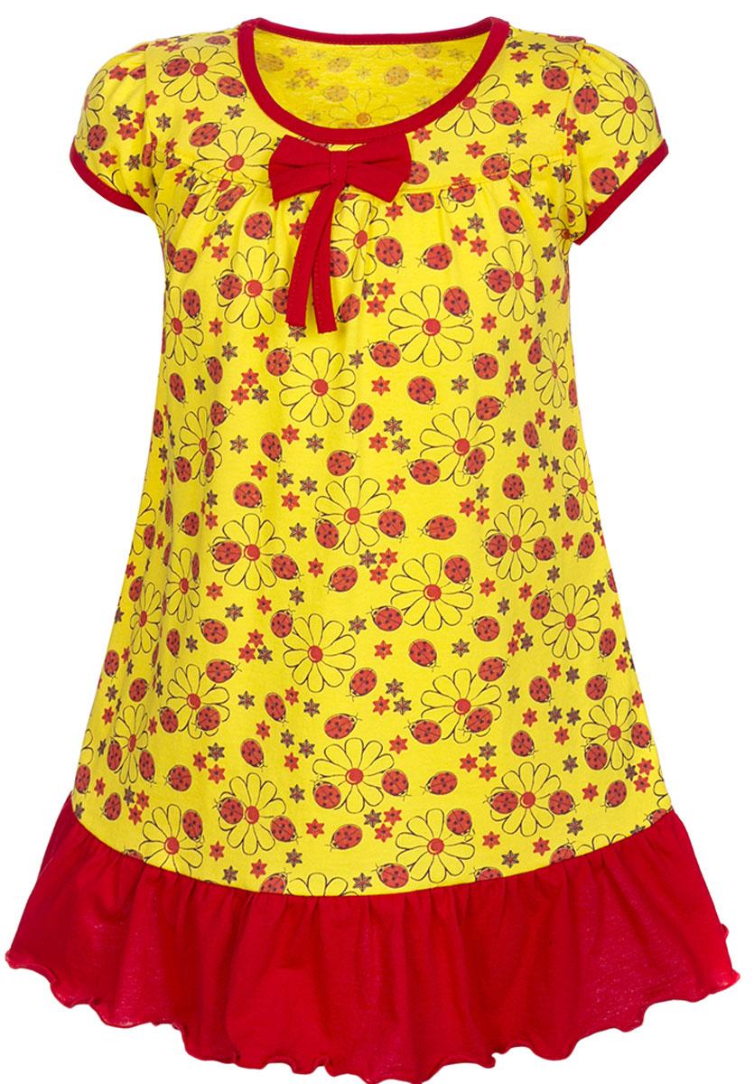 Платье для девочки M&D, цвет: желтый, красный. ПЛ7030202. Размер 104ПЛ7030202Платье для девочки M&D станет отличным вариантом для прогулок на свежем воздухе. Изготовленное из мягкого хлопка, оно тактильно приятное, хорошо пропускает воздух. Платье с круглым вырезом горловины и короткими рукавами дополнено мелким ярким принтом. По подолу платье оформлено рюшами, а вырез горловины и края рукавов обшиты бейкой. На груди платье украшает текстильный бант.Рюши, бейка и бант имеют однотонный яркий цвет, делая дизайн еще более радостным и узнаваемым.