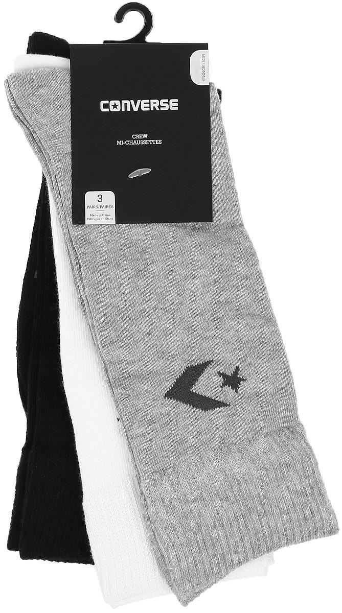 Носки Converse Converse Socks, цвет: серый, белый, черный, 3 пары. E218H3010. Размер 39/42E218H3010Мужские носки Converse изготовлены из качественного полиэстера с добавлением эластана. Модель декорирована буквенным принтом с названием бренда. Эластичная резинка плотно облегает ногу, не сдавливая ее.