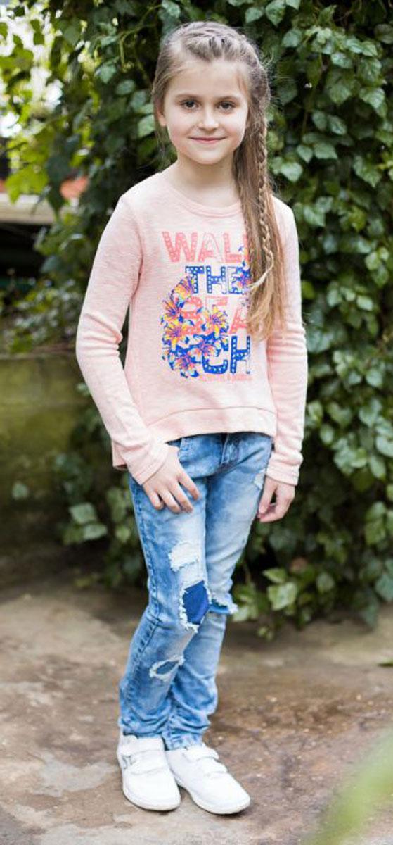 Толстовка для девочки Luminoso, цвет: персиковый. 718004. Размер 134718004Модная трикотажная толстовка для девочки, с удлиненной спинкой, декорированная яркой аппликацией.