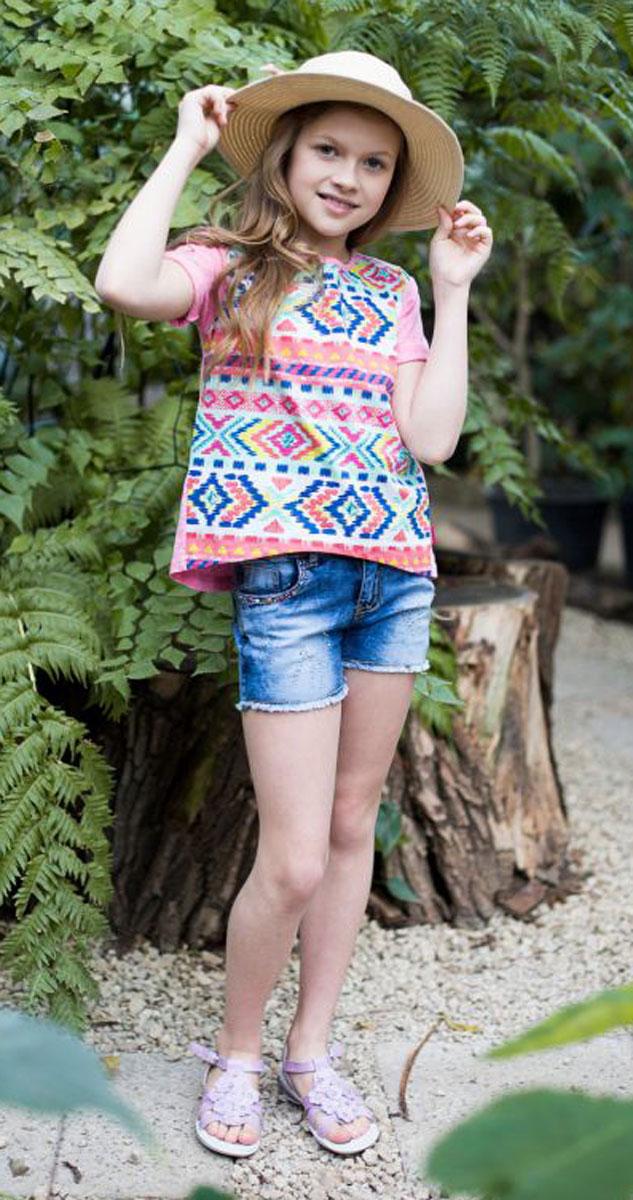 Футболка для девочки Luminoso, цвет: ярко-розовый. 718013. Размер 146718013Стильная футболка из трикотажной ткани с коротким рукавом и удлиненной спинкой. Декорирована ярким этническим принтом.
