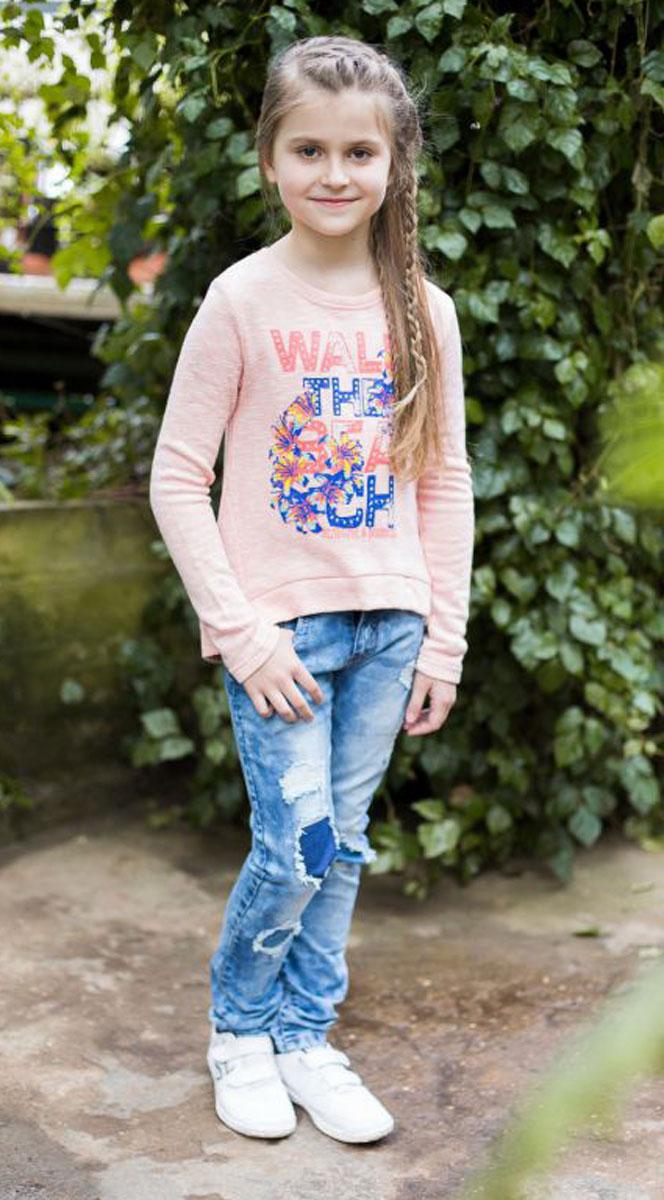 Джинсы для девочки Luminoso, цвет: синий. 718025. Размер 164718025Джинсы для девочки с оригинальной варкой, эффектами потертости и рваной джинсы имеют зауженный крой, среднюю посадку. Застегиваются на молнию и пуговицу. Шлевки на поясе рассчитаны под ремень.