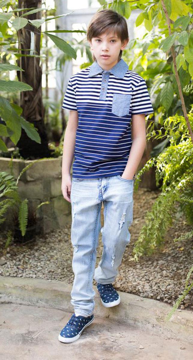 Джинсы для мальчика Luminoso, цвет: синий. 717079. Размер 146717079Стильные и модные джинсы Luminoso для мальчика выполнены из плотной качественной ткани. Джинсы прямого покроя, зауженные и декорированные модными потертостями.