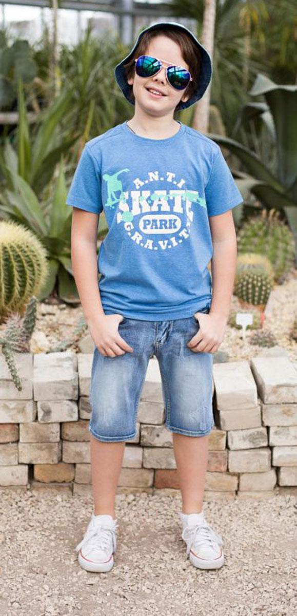 Футболка для мальчика Luminoso, цвет: синий. 717033. Размер 158717033Футболка из трикотажной ткани с коротким рукавом декорирована оригинальным принтом.