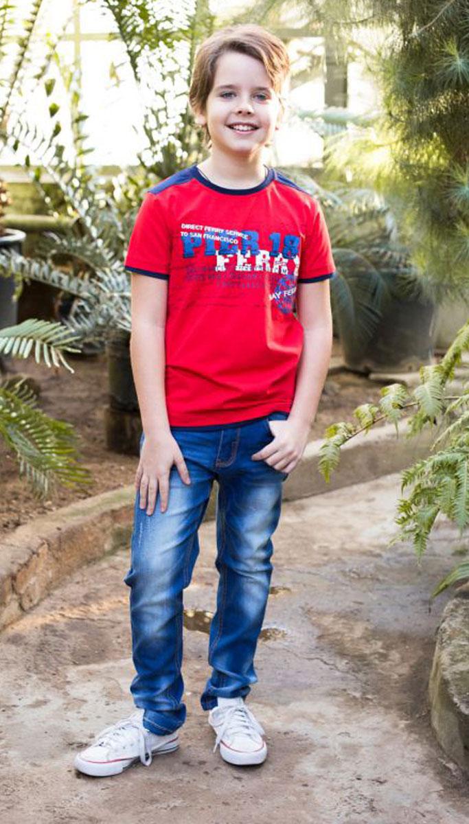 Футболка для мальчика Luminoso, цвет: красный. 717015. Размер 134717015Футболка из трикотажной мягкой ткани с коротким рукавом. Декорирована оригинальным принтом.