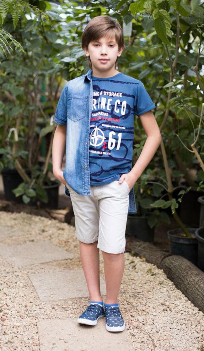 Футболка для мальчика Luminoso, цвет: синий. 717014. Размер 134717014Футболка из трикотажной мягкой ткани с коротким рукавом декорирована оригинальным принтом и аппликацией.