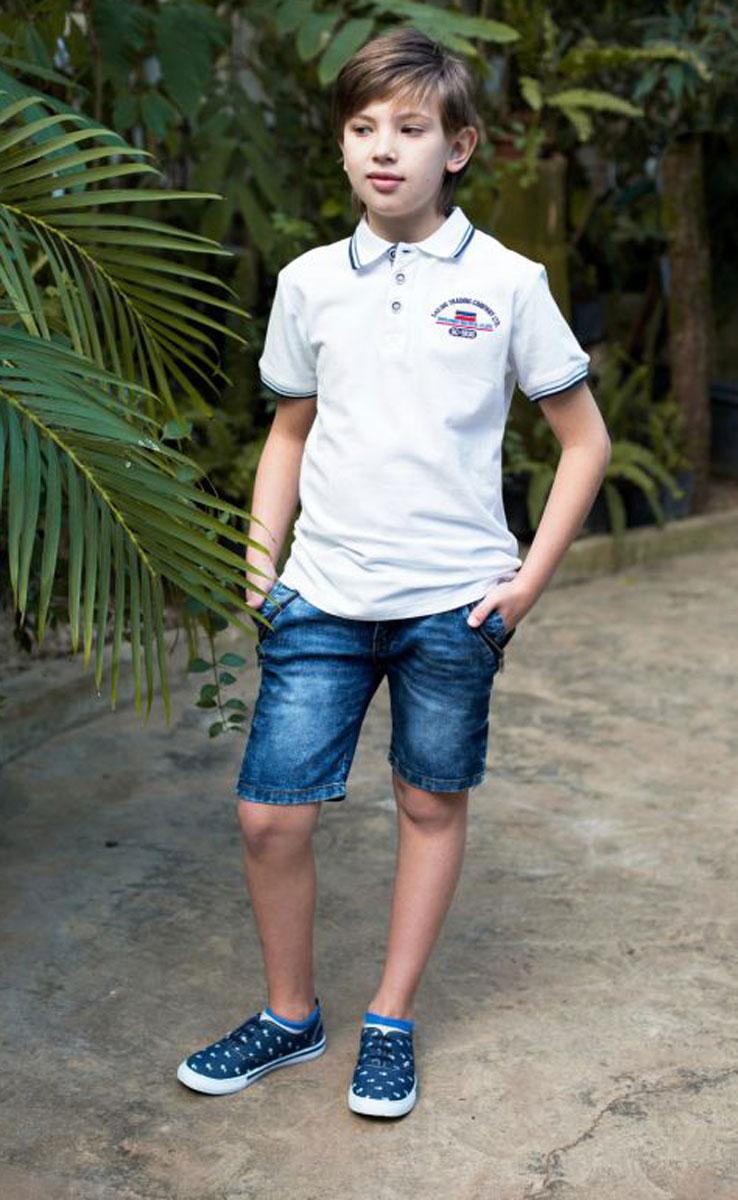 Футболка-поло для мальчика Luminoso, цвет: белый. 717013. Размер 152717013Футболка-поло свободного кроя с застежкой на пуговках декорирована вышивкой и контрастной отделкой воротничка и рукавов.