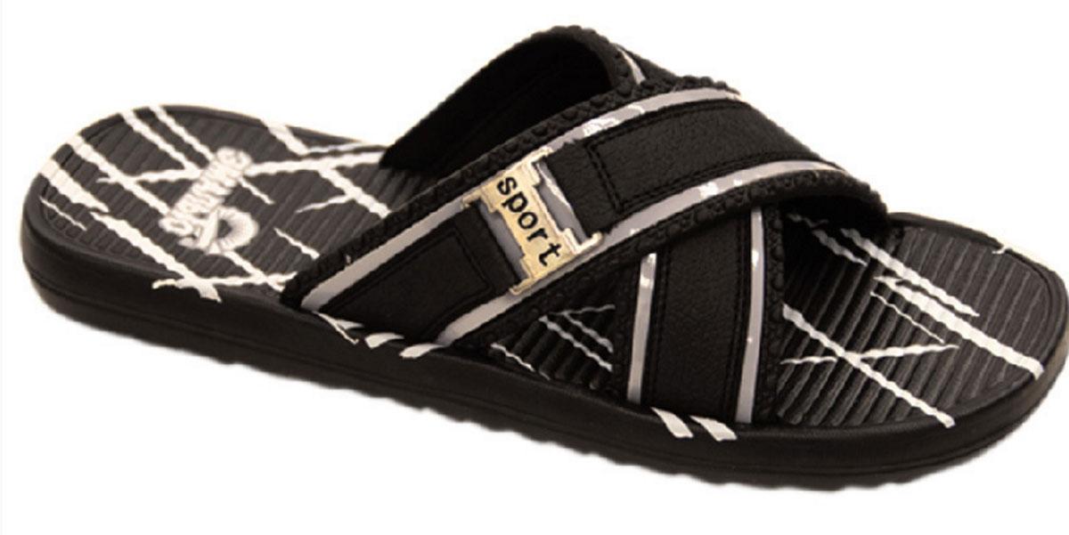 Шлепанцы мужские Эмальто, цвет: черный, белый. 9060-10А. Размер 459060-10АМужские шлепанцы Эмальто выполнены из мягкого водонепроницаемого материала ЭВА. Перемычка, состоящая из двух перекрещивающихся ремешков, надежно зафиксирует обувь на ноге. Внешняя поверхность подошвы имеет рельеф, препятствующий скольжению стопы. Невесомая подошва из ЭВА материала с рифлением обеспечит отличное сцепление с любой поверхностью. Такие шлепанцы прекрасно подойдут для похода в бассейн или на пляж.