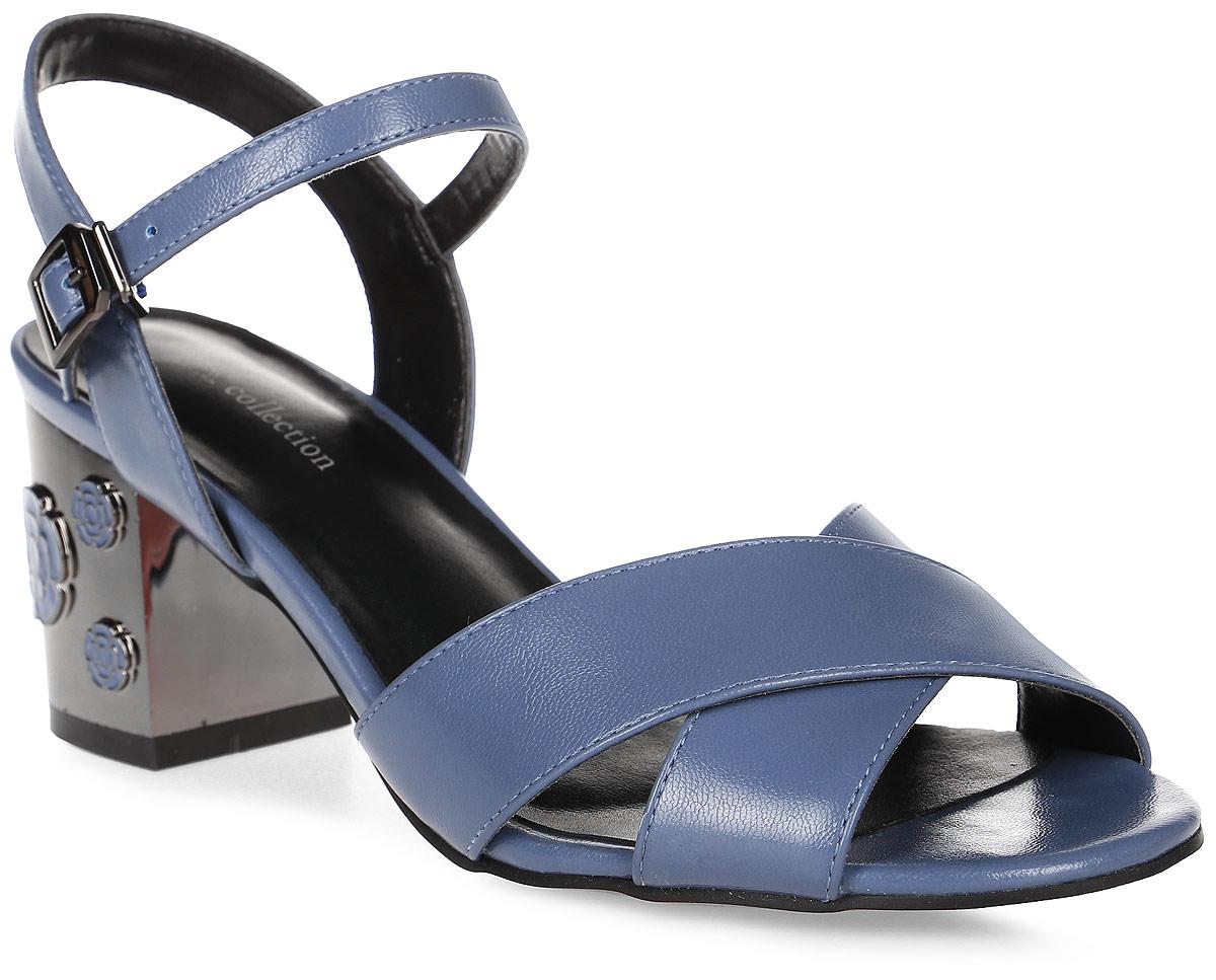 Босоножки женские LK collection, цвет: синий. SP-EA2001-2 PU (SP-E43001-5). Размер 38SP-EA2001-2 PU (SP-E43001-5)Стильные босоножки на устойчивом квадратном каблуке выполнены из искусственной кожи. Босоножки фиксируются на ноге при помощи застежки-пряжки.