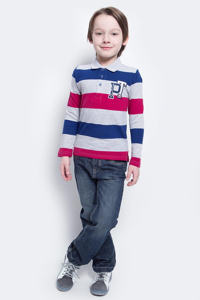 Поло для мальчика PlayToday, цвет: светло-серый, розовый, синий. 171016. Размер 110171016Поло для мальчика PlayToday выполнено из эластичного хлопка. Поло с длинным рукавом и отложным воротником прекрасно дополнит гардероб вашего ребенка. Материал изделия изготовлен по принципу yarn dyed - в процессе производства в полотне используются разного цвета нити.