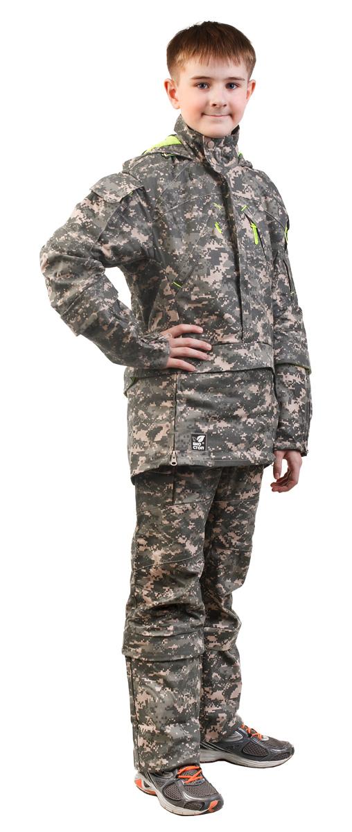 Костюм противоэнцефалитный для мальчика Биостоп, цвет: зеленый камуфляж. 06/4/07. Размер 42/84-15206/4/07Детский костюм Биостоп защитит от укуса клещей вашего ребенка. Схема расположения ловушек на костюме доработана с учетом роста детей. Куртка с застежкой на молнию, надевается через голову, молния закрыта двумя планками. Обработанные противоклещевым средством участки костюма не контактируют с кожей. Капюшон куртки дополнен козырьком и затягивается на шнурок со стопперами. Костюмы снабжен сигнальными элементами. В костюме Биостоп ребенок будет чувствовать себя не только безопасно, но и комфортно: его крой нисколько не стесняет движений. Обработанные противоклещевым средством участки костюма не контактируют с кожей. Защитные свойства костюма сохраняются даже после 50 стирок.